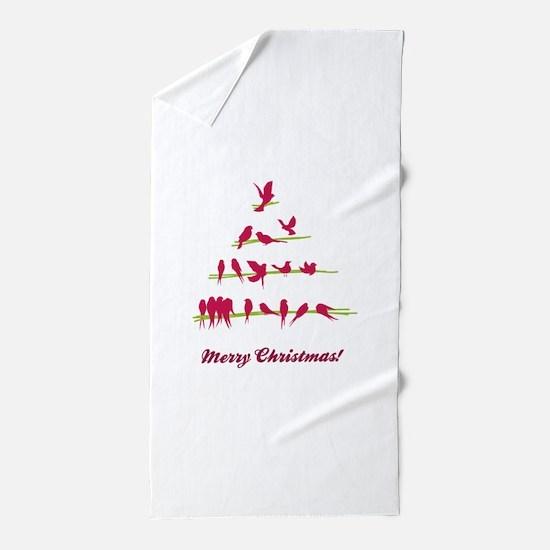 Doodle Christmas tree Beach Towel