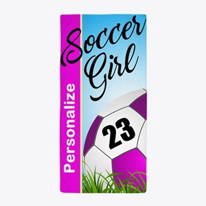 Soccer Girl Custom Beach Towel