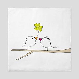 Singing birds in love Queen Duvet