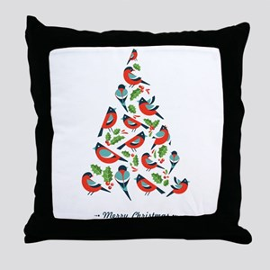Birds make Christmas tree with holy l Throw Pillow