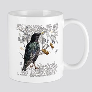 Leaves birds background set Mugs