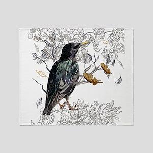 Leaves birds background set Throw Blanket