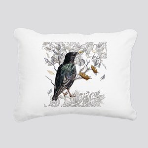 Leaves birds background Rectangular Canvas Pillow