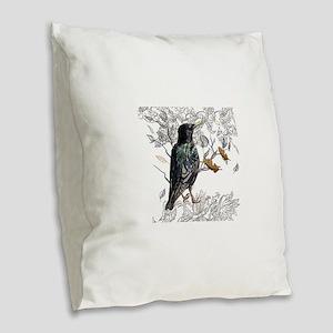 Leaves birds background set Burlap Throw Pillow