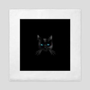 Black cat blue eye Queen Duvet