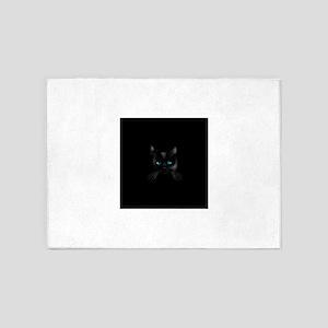 Black cat blue eye 5'x7'Area Rug