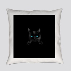 Black cat blue eye Everyday Pillow