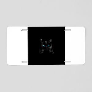 Black cat blue eye Aluminum License Plate