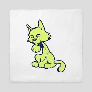 Lime cat Queen Duvet