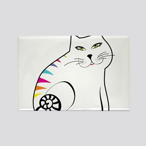 Colorful white cat Magnets