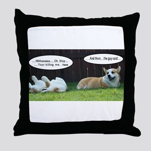 Laughing Corgis Throw Pillow