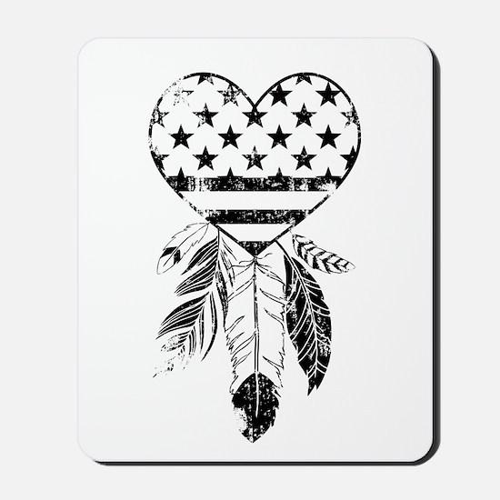 American Dreamcatcher Heart Mousepad