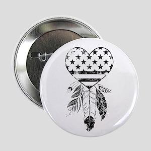 """American Dreamcatcher Heart 2.25"""" Button"""