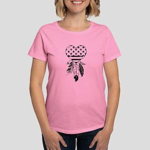American Dreamcatcher Heart Women's Dark T-Shirt