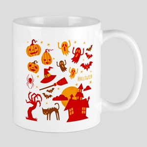 Happy halloween card design related elements Mugs