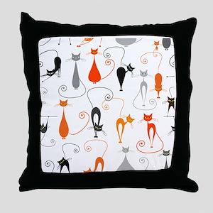 Cartoon cat seamless pattern graphic Throw Pillow