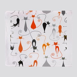 Cartoon cat seamless pattern graphic Throw Blanket
