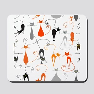 Cartoon cat seamless pattern graphic Mousepad