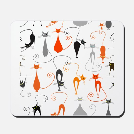 Cartoon cat seamless pattern graphic Mousepad
