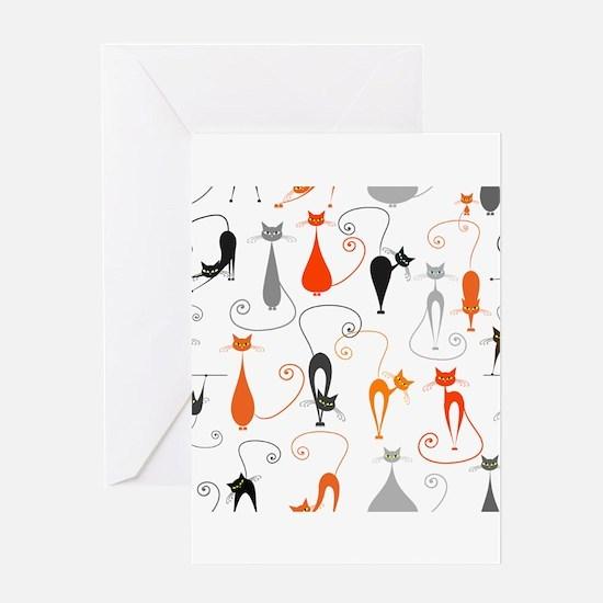 Cartoon cat seamless pattern graphi Greeting Cards
