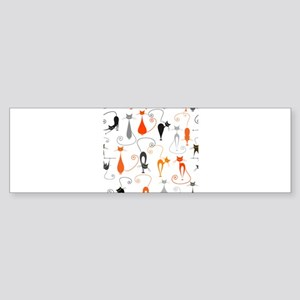 Cartoon cat seamless pattern graphi Bumper Sticker