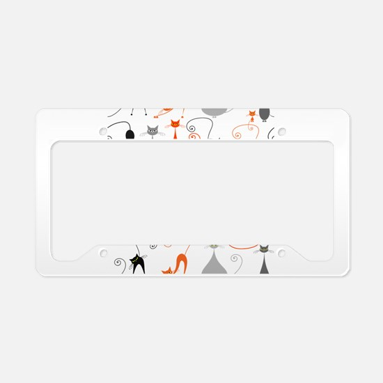 Cartoon cat seamless pattern License Plate Holder