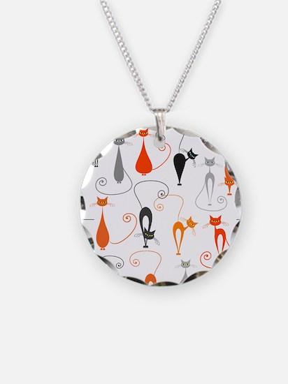 Cartoon cat seamless pattern Necklace
