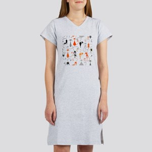 Cartoon cat seamless pattern gr Women's Nightshirt