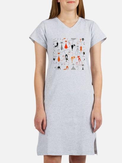 Cartoon cat seamless pattern gr Women's Nightshirt