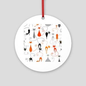 Cartoon cat seamless pattern graphi Round Ornament