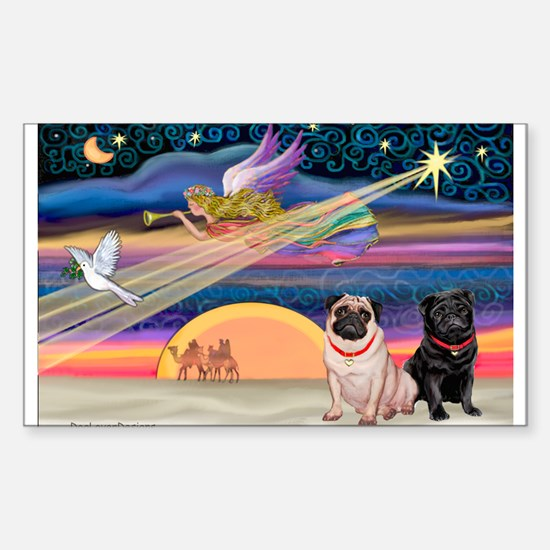 Xmas Star/Two Pugs (FB2) Rectangle Decal