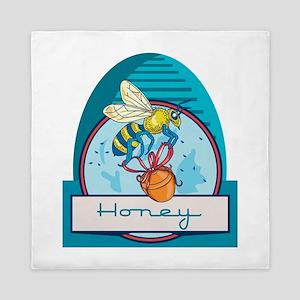 Bee Carrying Honey Pot Skep Circle Retro Queen Duv