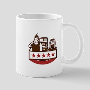 Power Washer Worker Truck Train Stars Retro Mugs