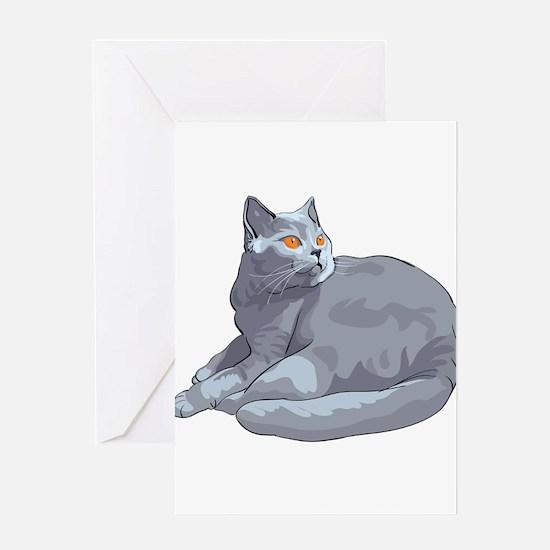 Wild cat sitting Greeting Cards
