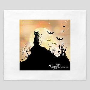 Silhouette halloween wallpaper King Duvet