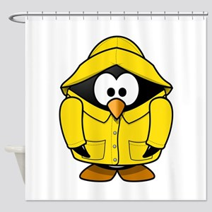 Penguin in the rain Shower Curtain