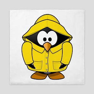 Penguin in the rain Queen Duvet