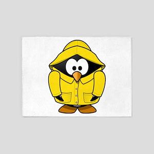 Penguin in the rain 5'x7'Area Rug