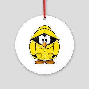 Penguin in the rain Round Ornament