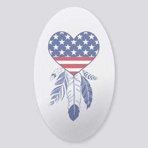 American Dreamcatcher Heart Sticker (Oval 10 pk)