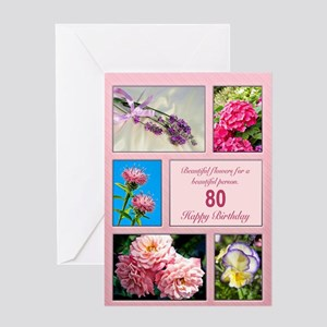 80th birthday, beautiful flowers birthday card Gre