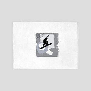 Snowboarder design 5'x7'Area Rug