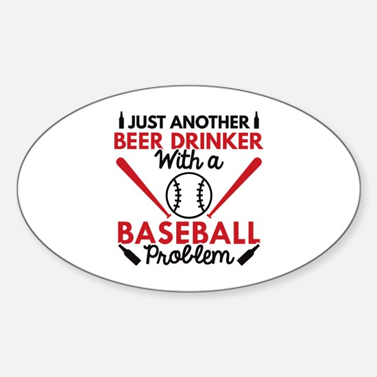 Beer Drinker Baseball Sticker (Oval)