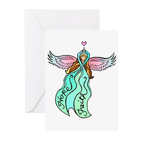 Teal Ribbon Angel Greeting Cards (Pk of 10)