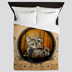 Cute cat family in the forest Queen Duvet