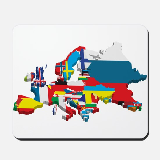 Flags map of Europe Mousepad