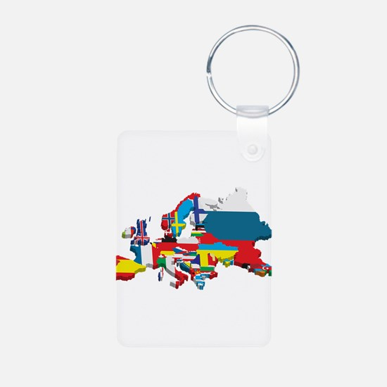 Flags map of Europe Keychains