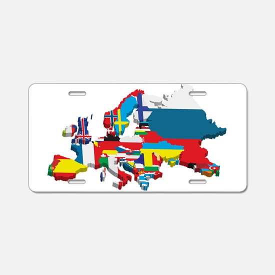 Flags map of Europe Aluminum License Plate