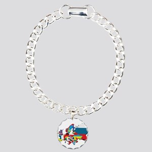 Flags map of Europe Charm Bracelet, One Charm