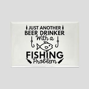 Beer Drinker Fishing Rectangle Magnet